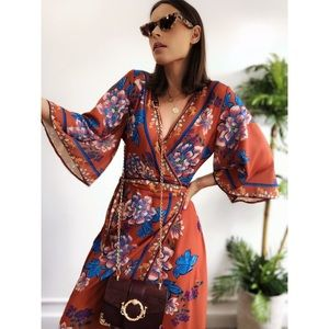 Dresses & Skirts - 🆕Miki Rust Floral Bell Sleeve Maxi Wrap Dress